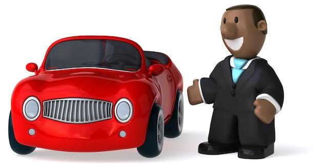 Empresário ilustrado engraçado e um carro renderizado em 3d