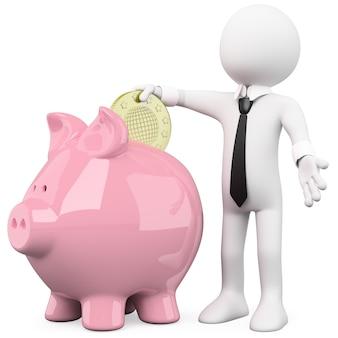 Empresário, inserindo uma moeda em um cofrinho rosa