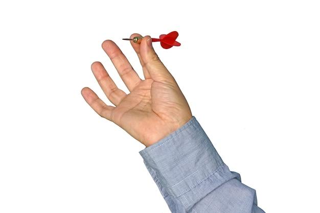 Empresário, jogando o dardo em branco. o conceito de sucesso empresarial. atinja o alvo.
