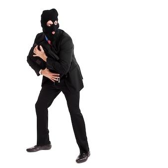 Empresário ladrão roubando uma maleta