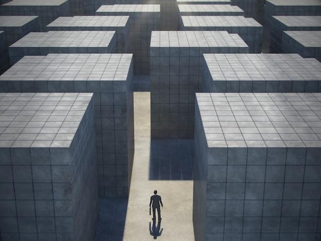 Empresário na frente de um enorme labirinto, vista superior. renderização em 3d.