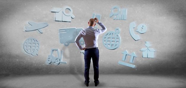 Empresário na frente de uma organização logística com ícone e conexão de renderização em 3d