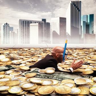 Empresário nadando em uma piscina de dinheiro