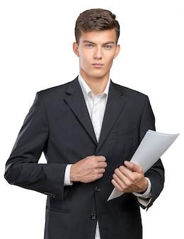 Empresário ocupado com cargas de papelada