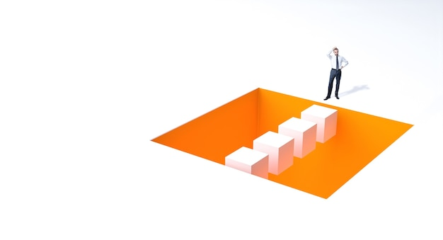 Empresário preocupado com um buraco no chão. conceito de resolução de problemas.