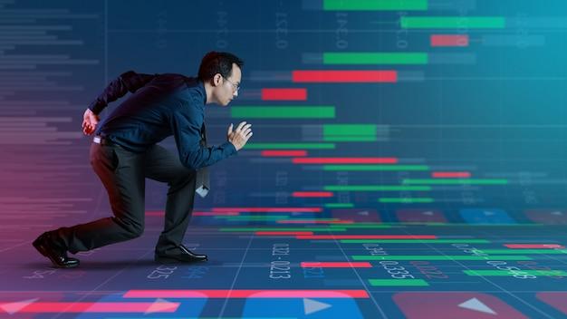Empresário pronto para negociar em investimento no mercado de ações