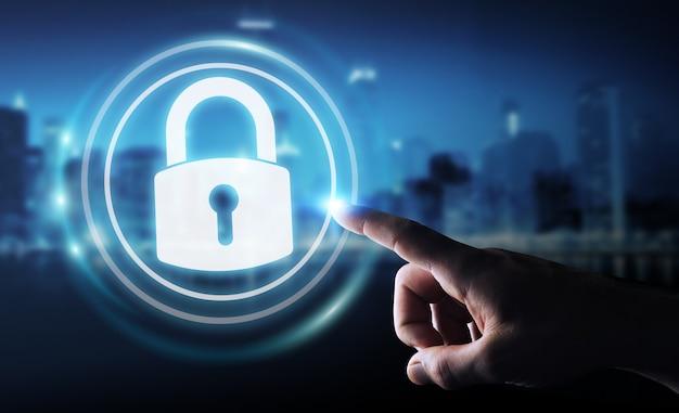 Empresário protegendo seus dados com interface de segurança