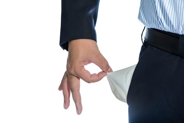 Empresário, puxando para fora do bolso vazio isolado no branco