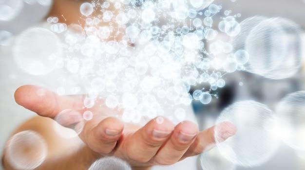 Empresário segurando a esfera de rede de dados de renderização 3d na mão