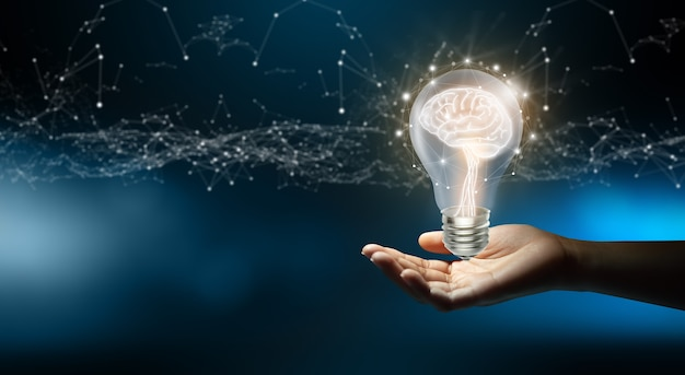 Empresário segurando lâmpadas inspiração criativa e inovadora conceito de ideia brilhante de negócios