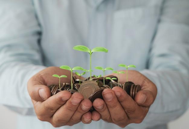 Empresário segurando moedas na mão com planta de crescimento, lucro do investimento e dinheiro de dividendos do conceito de economia.