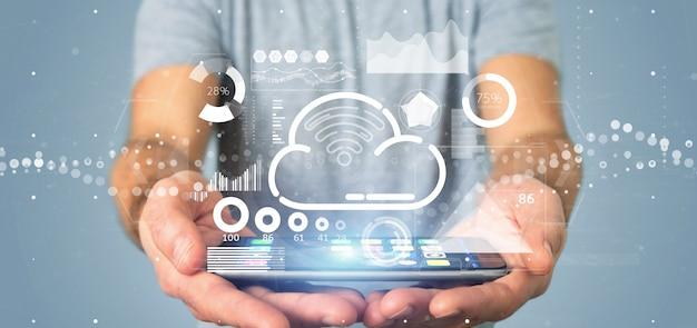 Empresário segurando nuvem e wifi