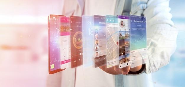 Empresário, segurando o modelo de aplicativo de renderização em 3d em um smartphone