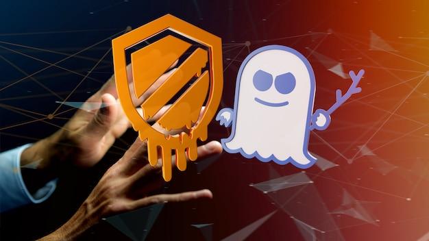 Empresário segurando um ataque de processador meltdown e spectre com conexão de rede - render 3d
