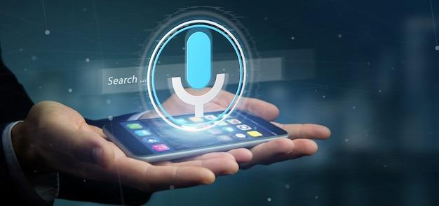 Empresário, segurando um sistema de pesquisa vocal com renderização de botão e icon3d