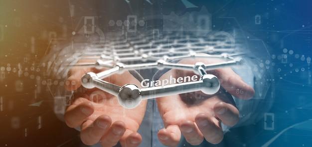 Empresário segurando uma estrutura de grafeno - renderização em 3d