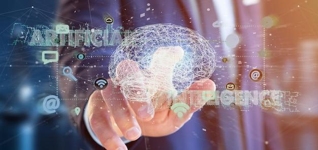 Empresário segurando uma inteligência artificial com um cérebro e app