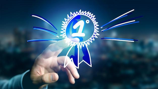 Empresário segurando uma recompensa de mão desenhada para o número um