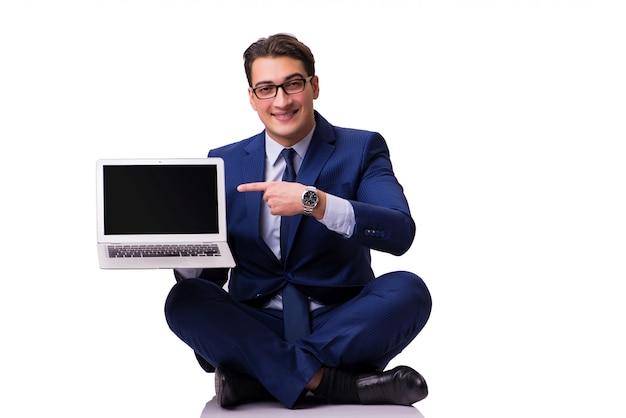 Empresário sentado no chão isolatedf