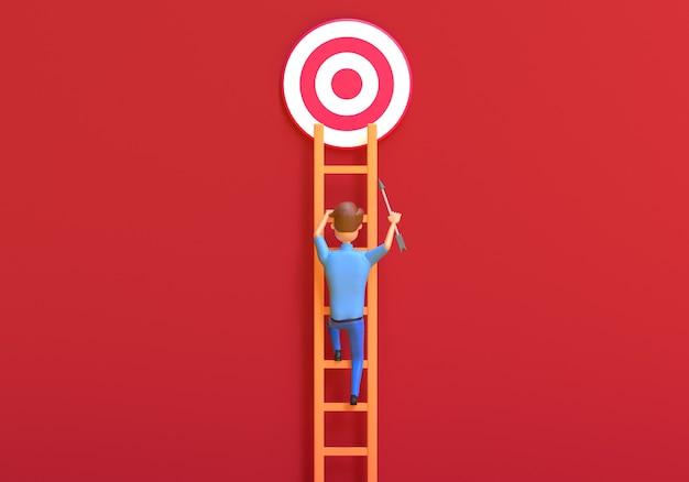 Empresário sobe a escada para atingir o objetivo ilustração 3d render