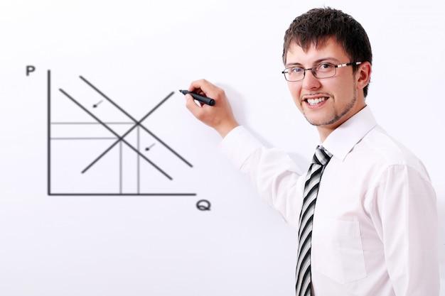 Empresário sorridente, desenhando o gráfico de oferta e demanda