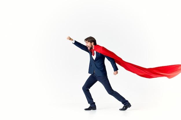 Empresário super-herói terno vitória luz fundo sucesso publicidade