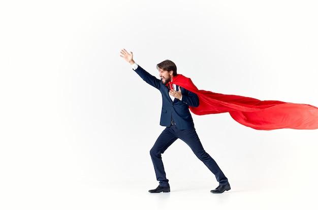 Empresário super-herói terno vitória luz publicidade sucesso
