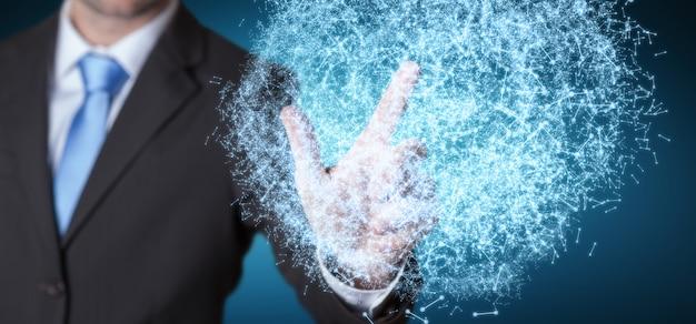 Empresário, tocando a esfera de rede de dados de renderização em 3d com os dedos