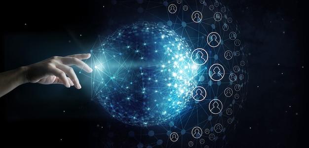 Empresário, tocando a rede global e conexão de dados do cliente no fundo do espaço