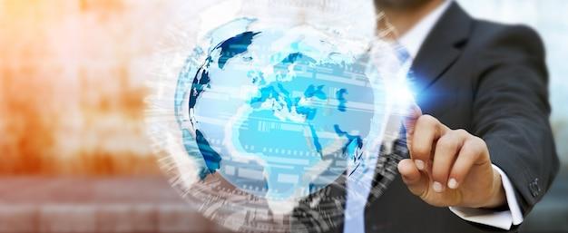 Empresário tocando a rede global na renderização em 3d do planeta terra