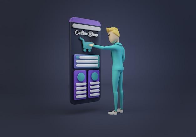 Empresário tocando a tela da loja on-line