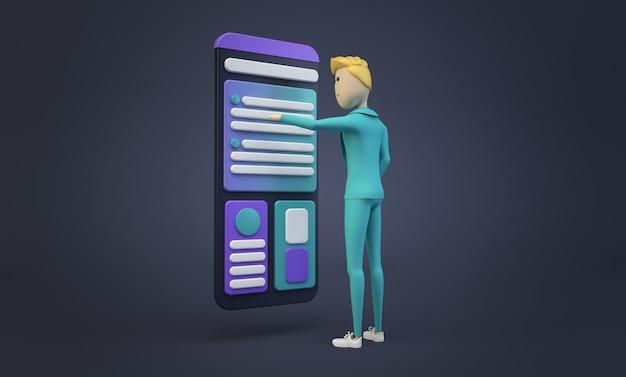 Empresário tocando a tela do smartphone