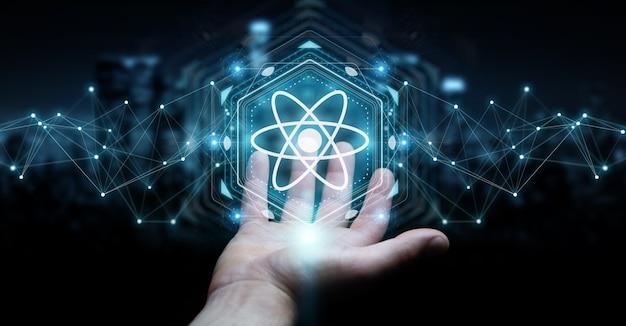 Empresário usando estrutura de molécula moderna