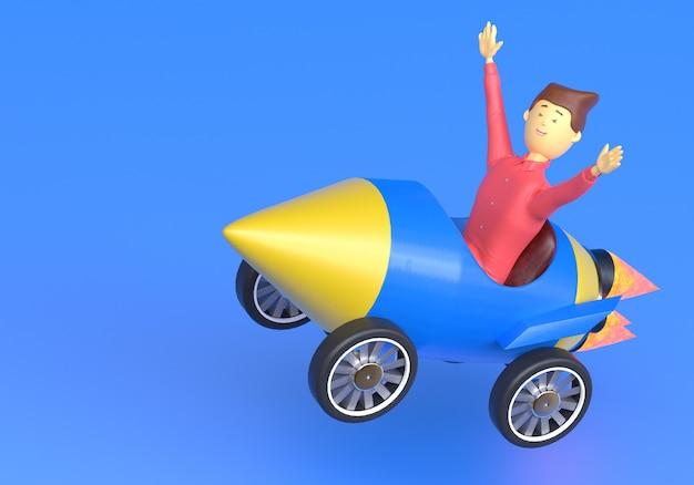 Empresário voando com carro-foguete conceito de negócio impulso carreira start up e crescimento 3d render