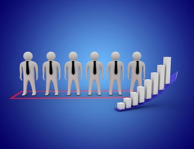 Empresários 3d com ilustração do gráfico de negócios.