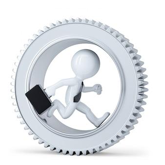 Empresários 3d correndo dentro de metal gear. isolado. contém o traçado de recorte