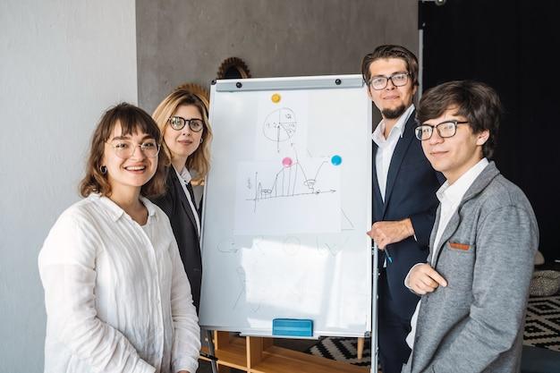 Empresários com quadro branco, discutindo a estratégia em uma reunião