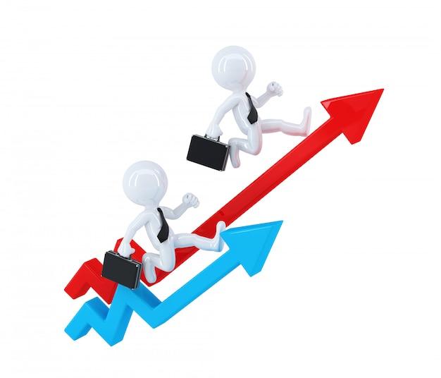 Empresários correndo sobre as setas do gráfico. conceito de negócios. isolado. contém o traçado de recorte