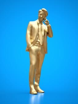 Empresários de figura de ouro falando ao telefone