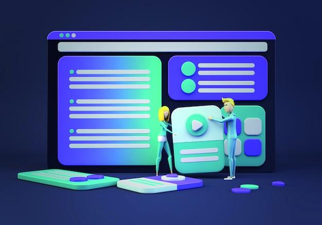 Empresários dos desenhos animados, projetando o site