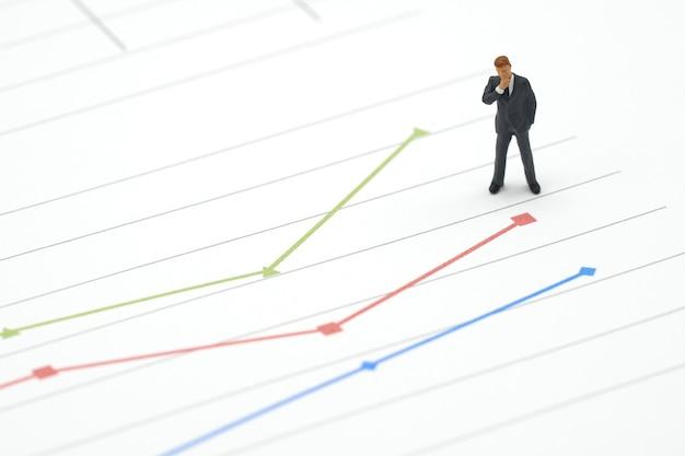 Empresários em miniatura permanente análise de investimento no gráfico