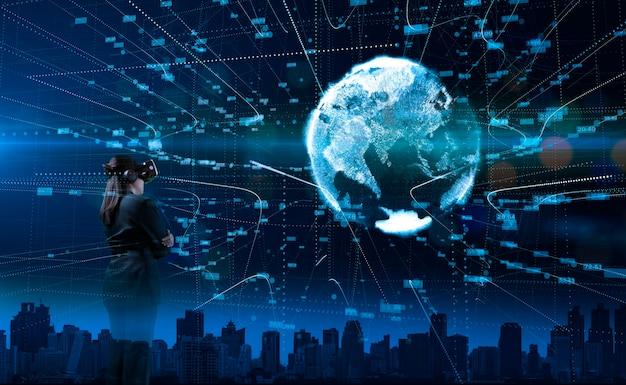 Empresários usando óculos de realidade virtual modernos com big data de conexão global.