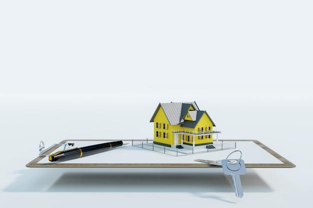 Empréstimo hipotecario aprovado com formulário de contrato, renderização de ilustração 3d