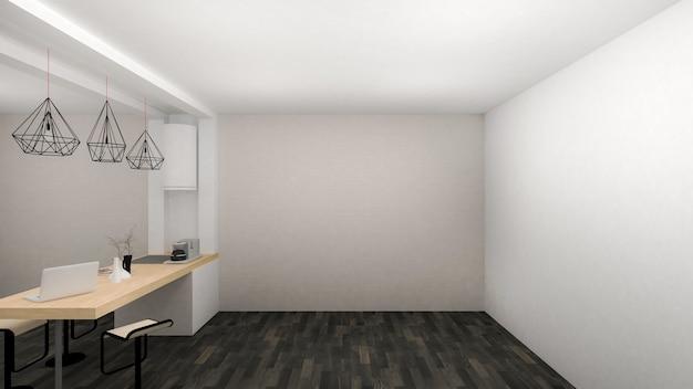 Empty room interior moderno com área de despensa e piso de madeira preta. renderização 3d