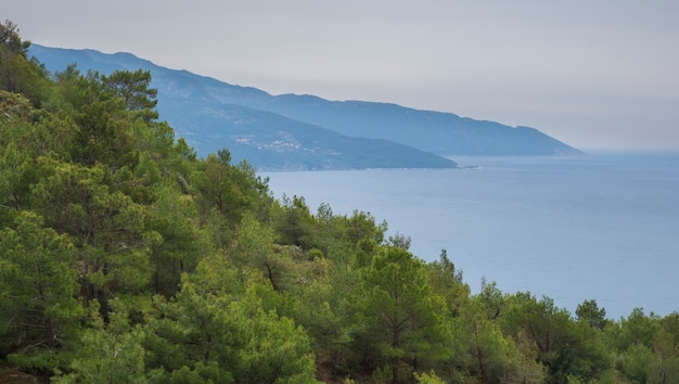Encostas de montanhas com pinhal no fundo do mar mediterrâneo na turquia
