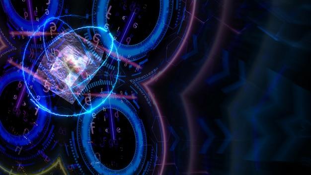 Energia cúbica e atômica em movimento e computador com tecnologia futurística quântica com matriz digital e laser