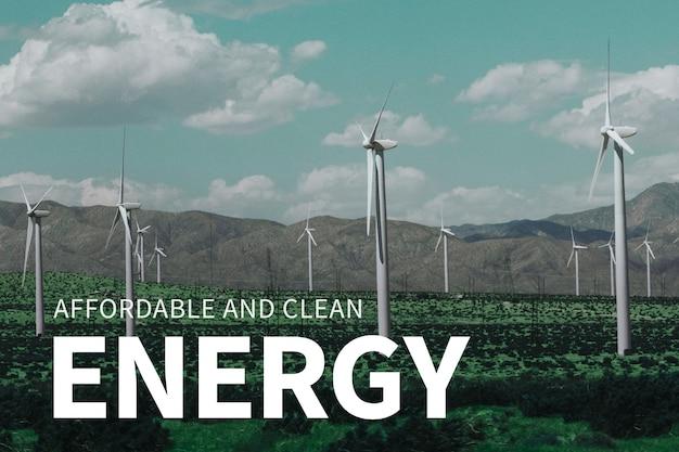 Energia eólica com faixa de energia limpa e acessível para o meio ambiente