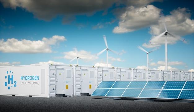 Energia para o conceito de gás com céu fresco e ensolarado. armazenamento de energia de hidrogênio com fontes de energia renováveis - parque de usinas fotovoltaicas e de turbinas eólicas. renderização 3d.