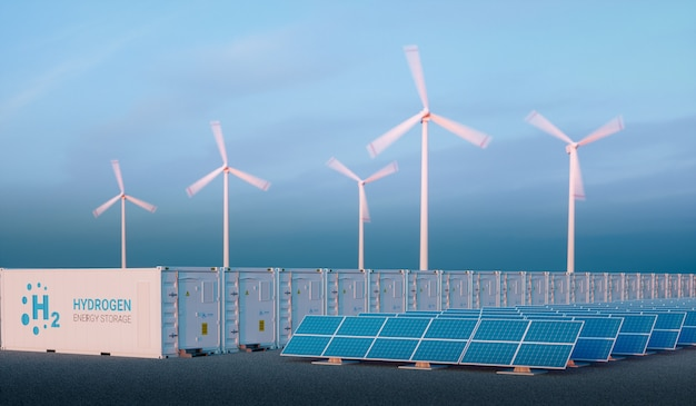 Energia para o conceito de gás na luz da manhã agradável. armazenamento de energia de hidrogênio com fontes de energia renováveis - parque de usinas fotovoltaicas e de turbinas eólicas. renderização 3d.