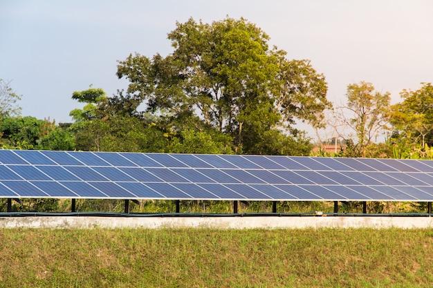 Energia solar fazenda para energia renovável elétrica do sol